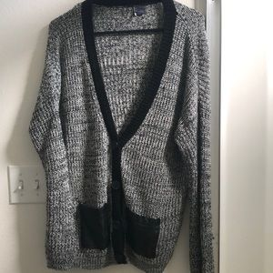Grey Urban Outfitters Cardigan with Leather Pocket